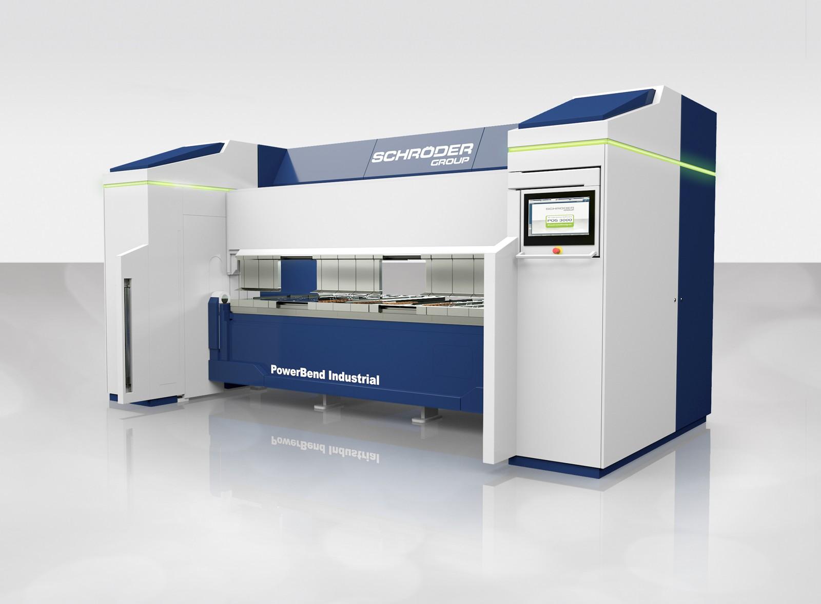 Schwenkbiegemaschine Powerbend Industrial mit Saugerplatte und Up-Down-Biegesystem.