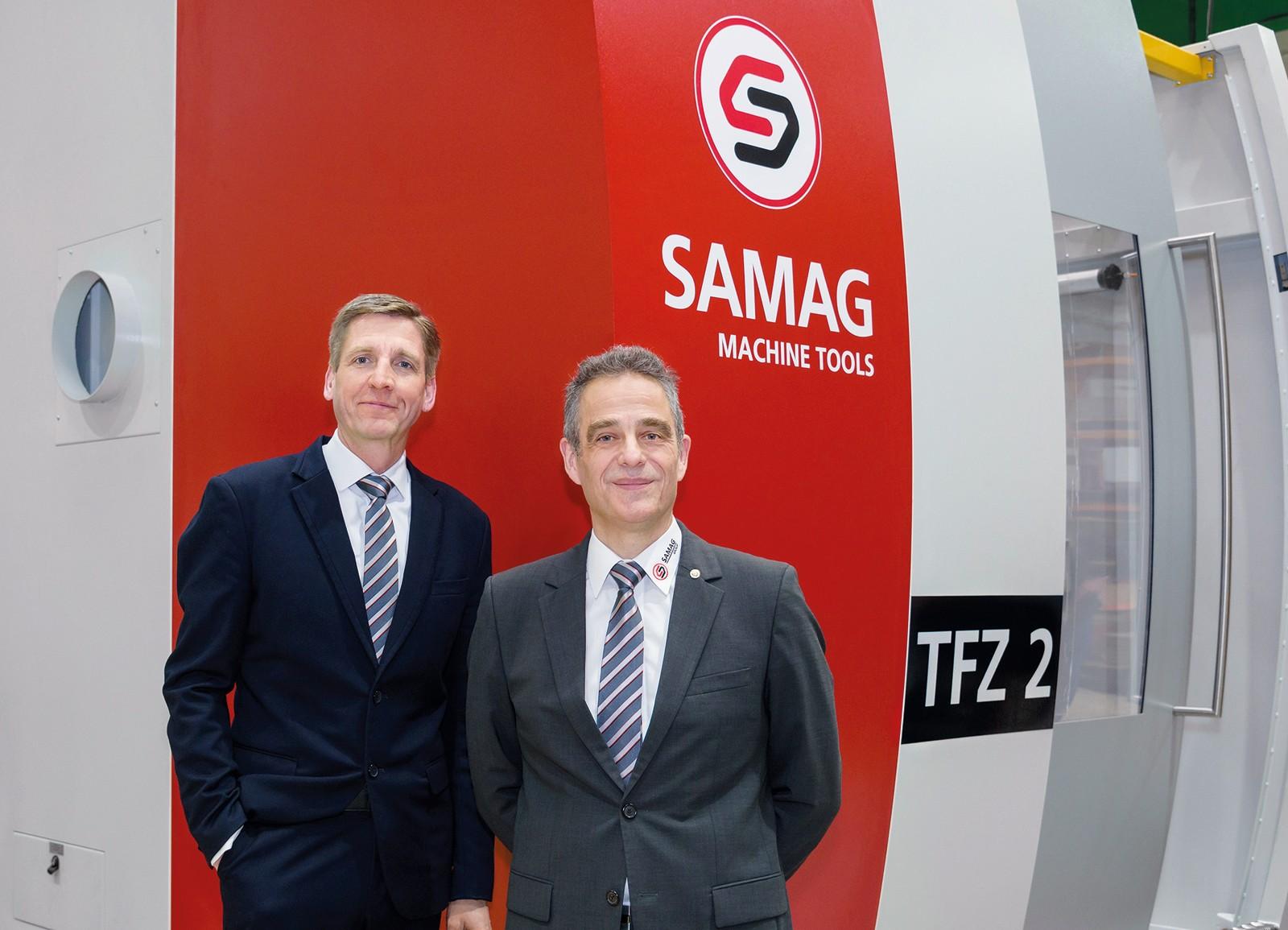 Gemeinsam mit Roland L. Emig (rechts im Bild) wird Christian Kleinjung die Weiterentwicklung der Samag Group aktiv begleiten.