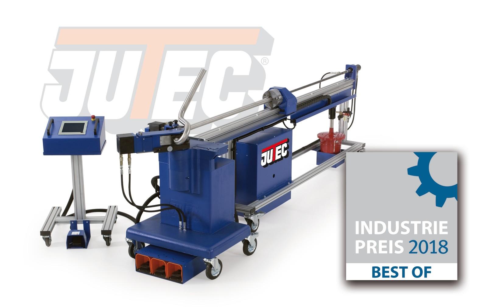 """Die Dornbiegemaschine 5000 von Jutec stellt sich als Alternative zu vollautomatischen Biegesystemen da. Das Biegesystem würde mit dem """"Best of"""" des Industriepreis 2018 ausgezeichnet."""