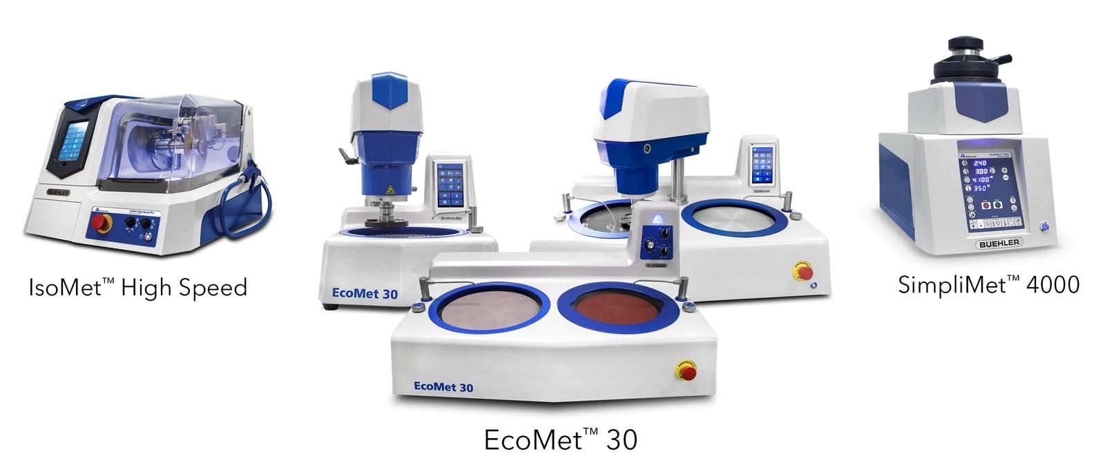 Iso Met High Speed Pro, Eco Met 30 und Simpli Met 4000 sind nur wenige Highlights des umfassenden Produktportfolios für die Probenpräparation und Härteprüfung.