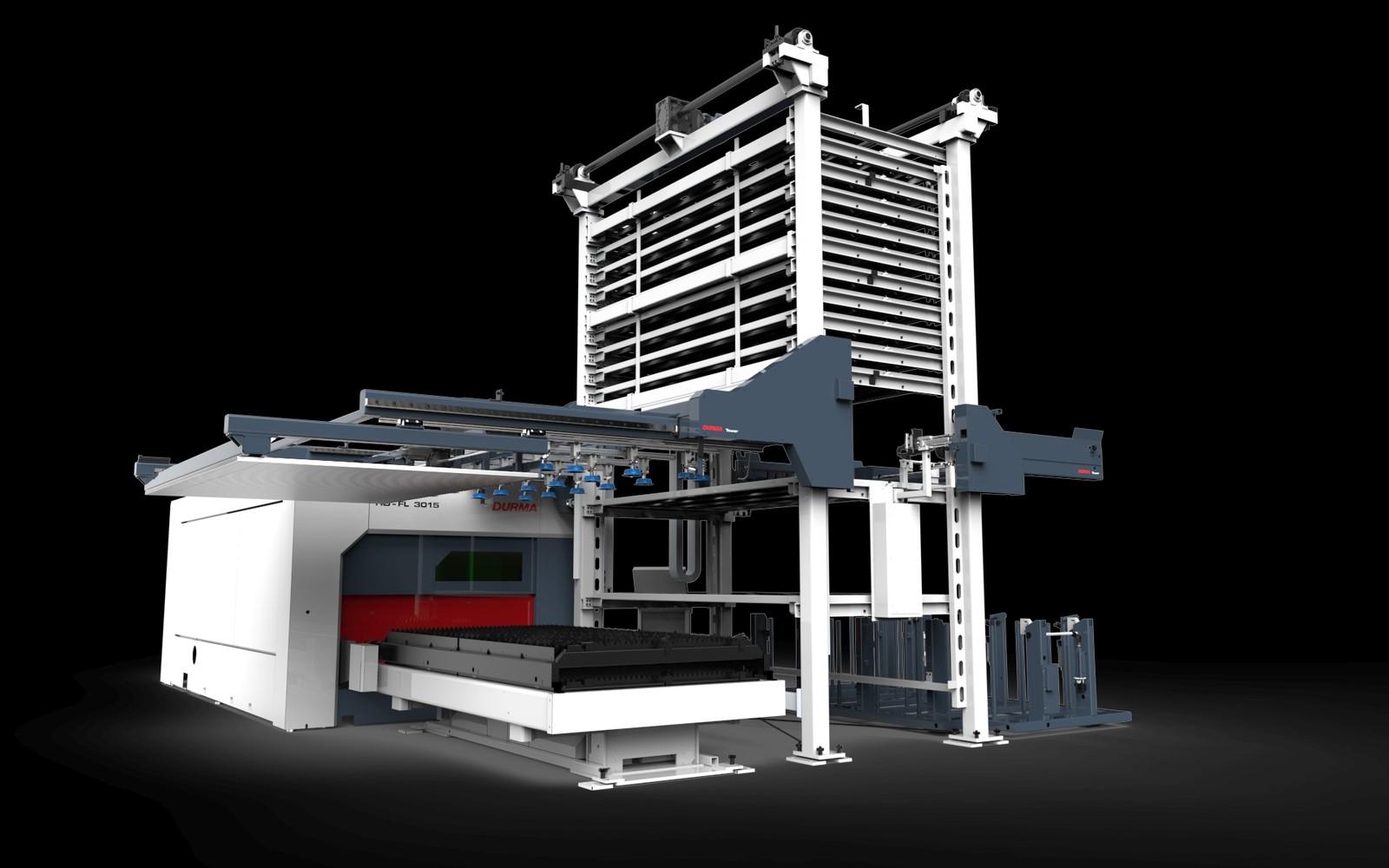 Highlight der Hausausstellung ist die Faserlasermaschine HD3015 mit 10-kW-Laser und angebundenem Lagersystem.