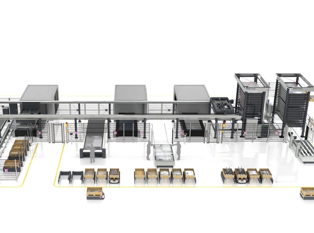 Ganzheitliche Materialflusskonzepte, die modular mit den Produktionsanforderungen der Kunden wachsen können, stehen im Fokus des Messeauftritts von Remmert auf der Blechexpo 2019 in Stuttgart.