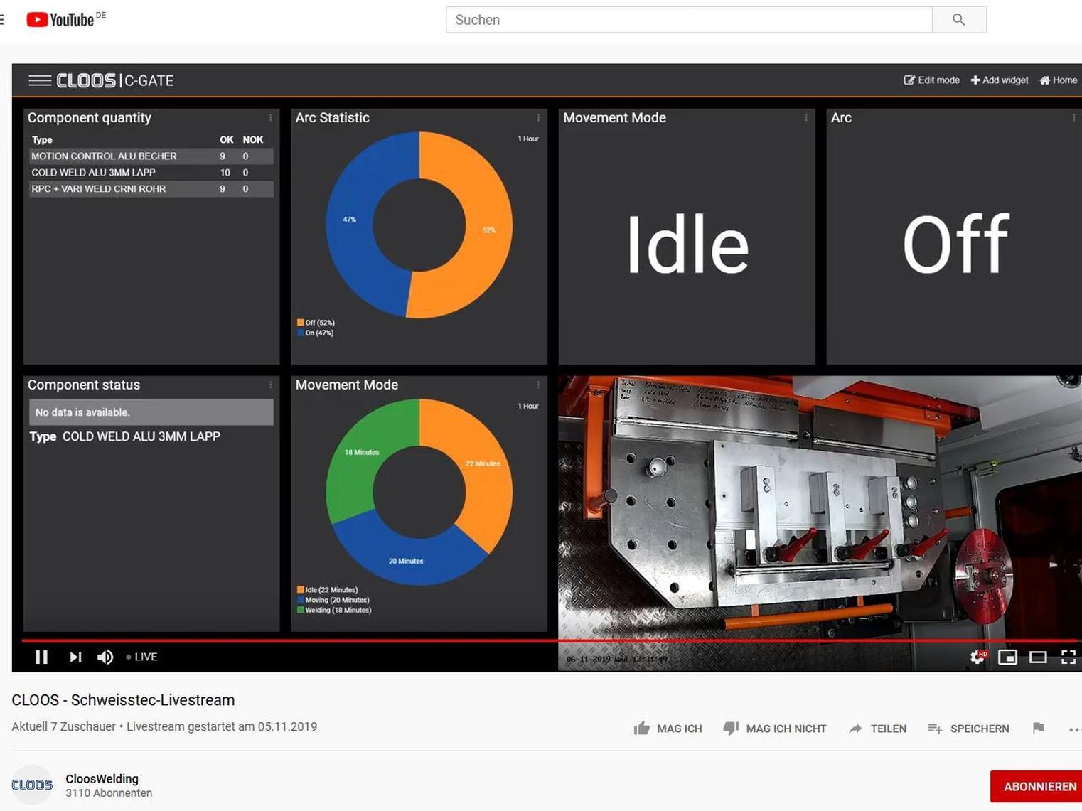 Cloos: Website bietet einen Live-Stream zur Roboteranlage mit dem C-Gate auf dem Schweisstec-Messestand